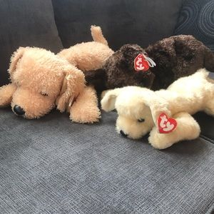 3 TY Classic puppy plush stuffed toy retired Med
